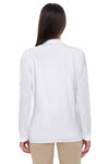 Devon & Jones DP462W White Perfect Fit Triblend Shawl Collar Long Sleeve Cardigan Sweater Back