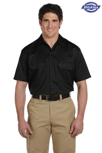 Dickies 1574 Black Blend Short Sleeve Button Down Shirt Front