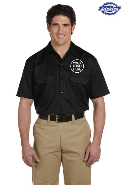 Dickies 1574 Black Blend Short Sleeve Button Down Shirt Logo