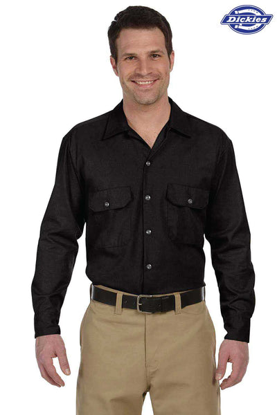 Dickies 574 Black Blend Long Sleeve Button Down Shirt Front