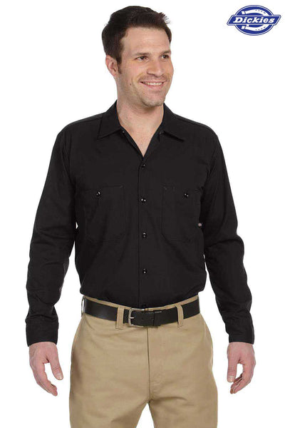 Dickies LL535 Black Industrial Blend Long Sleeve Button Down Shirt Front