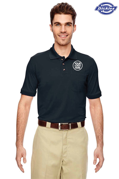 Dickies LS404 Navy Blue Industrial Performance Polyester Short Sleeve Polo Shirt Logo