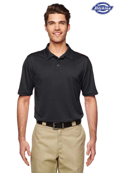 Dickies LS425 Black MaxCool Performance Polyester Short Sleeve Polo Shirt Front