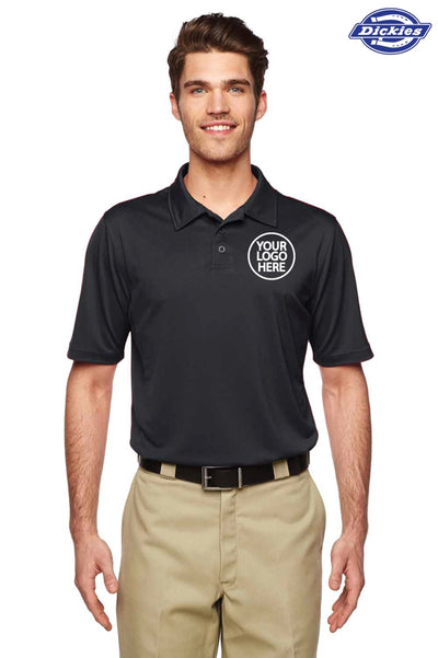 Dickies LS425 Black MaxCool Performance Polyester Short Sleeve Polo Shirt Logo