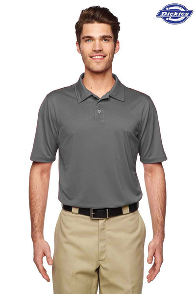 Dickies LS425 Charcoal Grey MaxCool Performance Polyester Short Sleeve Polo Shirt Front