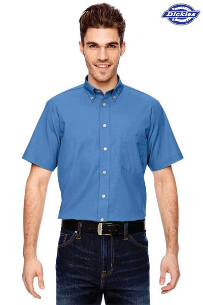 Dickies LS505 Light Blue Performance Blend Comfort Stretch Short Sleeve Button Down Shirt Front
