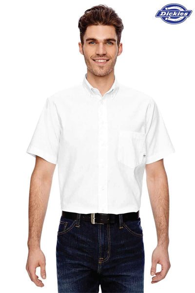 Dickies LS505 White Performance Blend Comfort Stretch Short Sleeve Button Down Shirt Front