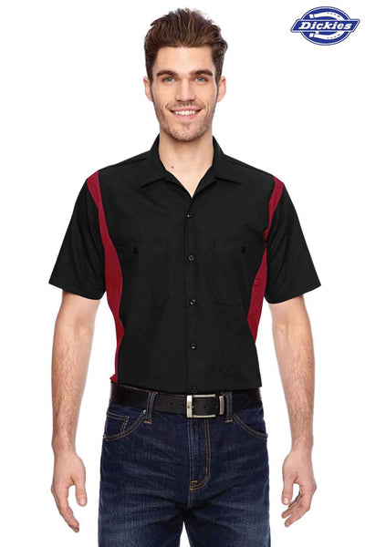 Dickies LS524 Black/Red Industrial Blend Colorblock Short Sleeve Button Down Shirt Front