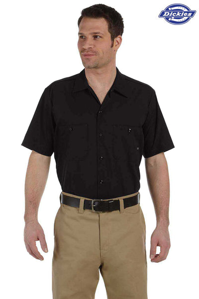 Dickies LS535 Black Industrial Blend Short Sleeve Button Down Shirt Front
