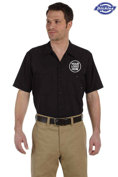 Dickies LS535 Black Industrial Blend Short Sleeve Button Down Shirt Logo