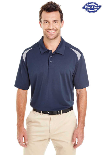 Dickies LS606 Navy Blue/Grey Performance Polyester Team Short Sleeve Polo Shirt Front