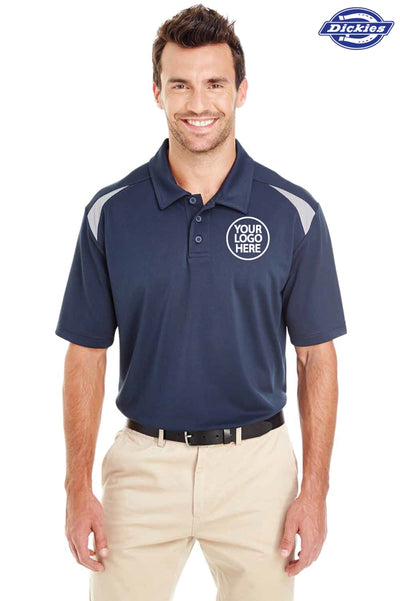 Dickies LS606 Navy Blue/Grey Performance Polyester Team Short Sleeve Polo Shirt Logo