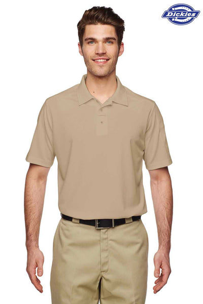 Dickies LS952 Sand Brown Tactical Performance Polyester Short Sleeve Polo Shirt Front
