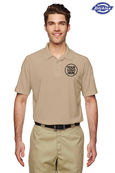 Dickies LS952 Sand Brown Tactical Performance Polyester Short Sleeve Polo Shirt Logo