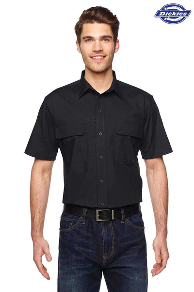 Dickies LS953 Black Tactical Ripstop Blend Ventilated Short Sleeve Button Down Shirt Front