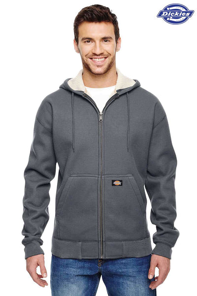 Dickies TW357 Heather Dark Grey Sherpa Fleece Lined Hooded Sweatshirt Hoodie Front