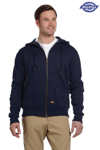 Dickies TW382 Navy Blue Fleece Thermal Lined Hooded Sweatshirt Hoodie Front