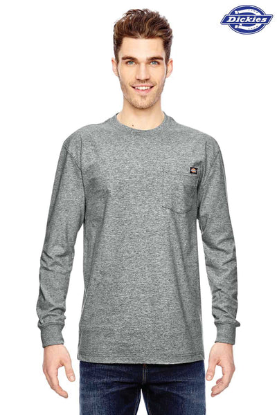Dickies WL450 Heather Grey Heavyweight Cotton Long Sleeve Crewneck T-Shirt w/ Pocket Front