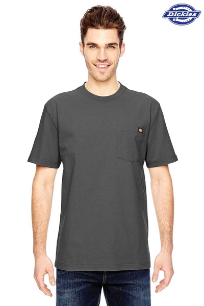Dickies WS450 Charcoal Grey Heavyweight Cotton Short Sleeve Crewneck T-Shirt w/ Pocket Front