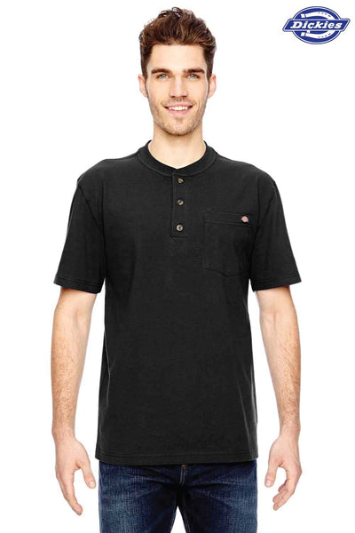 Dickies WS451 Black Heavyweight Cotton Henley Short Sleeve T-Shirt Front