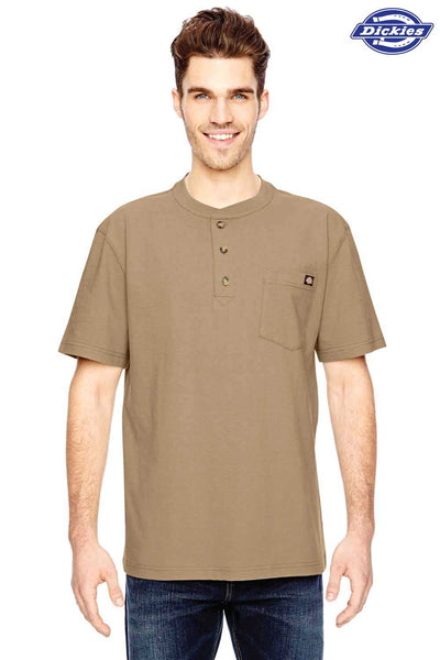 Dickies WS451 Sand Brown Heavyweight Cotton Henley Short Sleeve T-Shirt Front