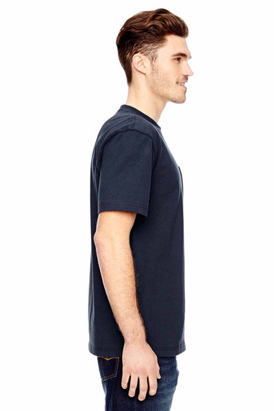 Dickies WS450 Navy Blue Heavyweight Cotton Short Sleeve Crewneck T-Shirt w/ Pocket Side