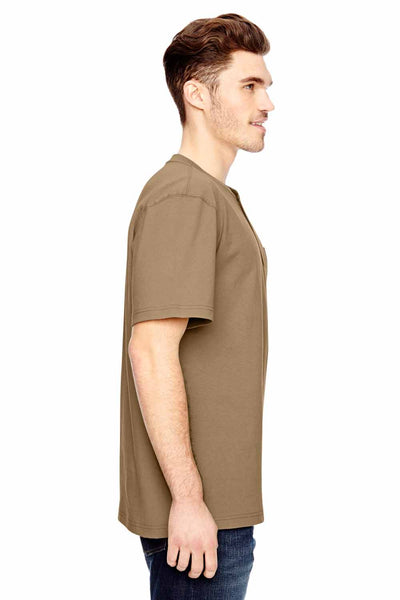 Dickies WS451 Sand Brown Heavyweight Cotton Henley Short Sleeve T-Shirt Side