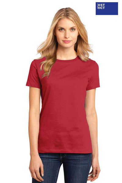District DM104L Red Perfect Weight Cotton Short Sleeve Crewneck T-Shirt Front