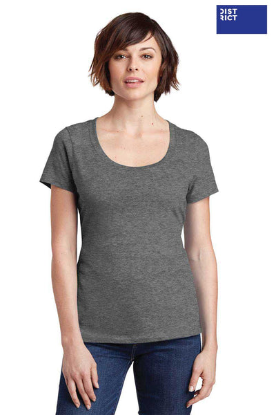 District DM106L Heather Nickel Grey Perfect Weight Cotton Short Sleeve T-Shirt Front