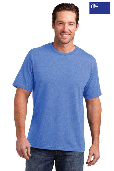 District DM108 Heather Royal Blue Perfect Blend Short Sleeve Crewneck T-Shirt Front