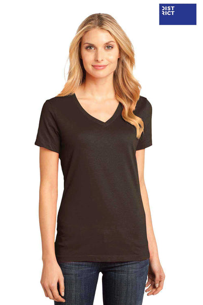 District DM1170L Espresso Brown Perfect Weight Cotton Short Sleeve V-Neck T-Shirt Front