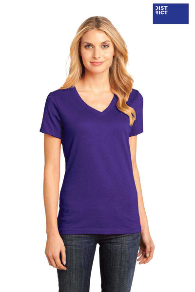 District DM1170L Purple Perfect Weight Cotton Short Sleeve V-Neck T-Shirt Front