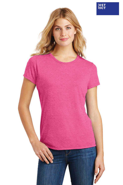 District DM130L Fuchsia Pink Frost Perfect Triblend Short Sleeve Crewneck T-Shirt Front
