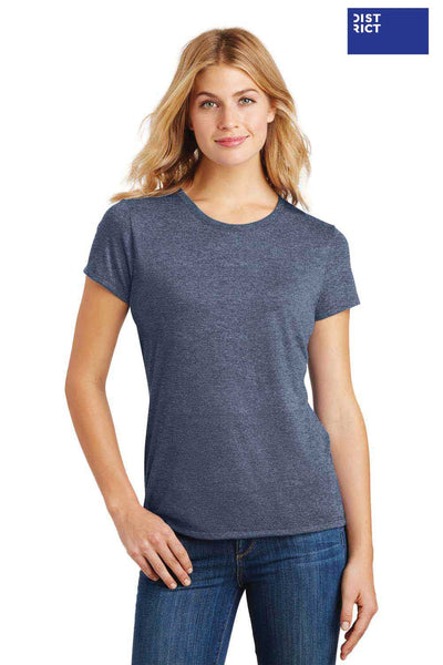 District DM130L Navy Blue Frost Perfect Triblend Short Sleeve Crewneck T-Shirt Front