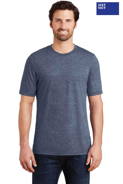 District DM130 Navy Blue Frost Perfect Triblend Short Sleeve Crewneck T-Shirt Front