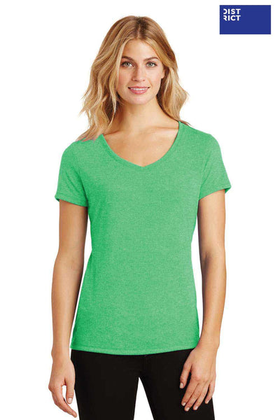 District DM1350L Green Frost Perfect Triblend Short Sleeve V-Neck T-Shirt Front