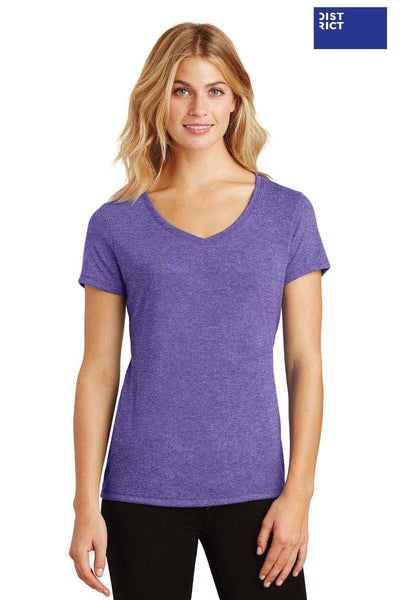District DM1350L Purple Frost Perfect Triblend Short Sleeve V-Neck T-Shirt Front