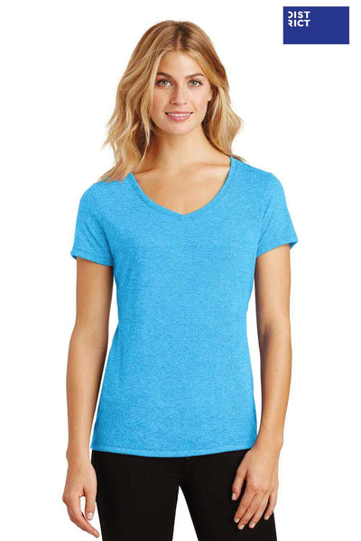 District DM1350L Turquoise Blue Frost Perfect Triblend Short Sleeve V-Neck T-Shirt Front