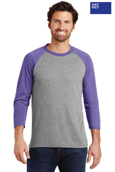 District DM136 Grey Frost/Purple Perfect Triblend Raglan 3/4 Sleeve Crewneck T-Shirt Front