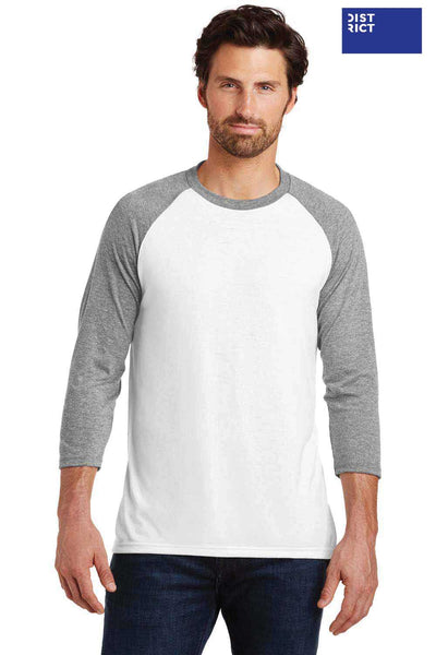 District DM136 White/Grey Frost Perfect Triblend Raglan 3/4 Sleeve Crewneck T-Shirt Front