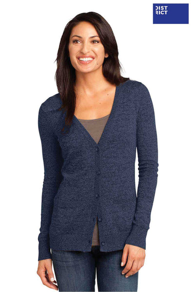 District DM415 Navy Blue Blend Long Sleeve Cardigan Sweater Front