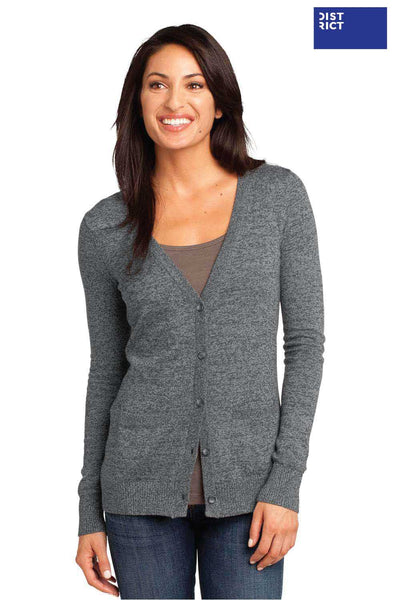 District DM415 Warm Grey Blend Long Sleeve Cardigan Sweater Front