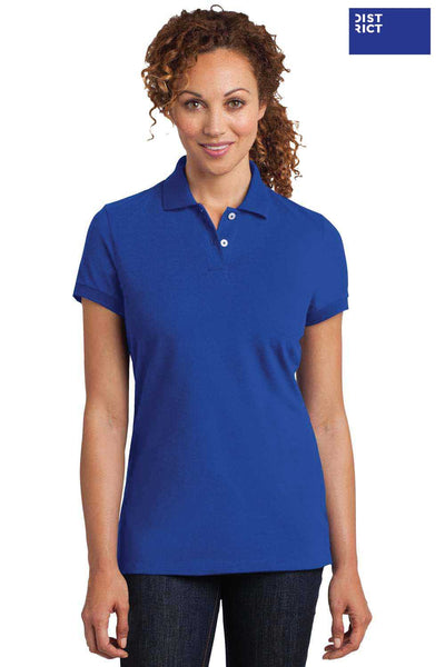 District DM425 Royal Blue Stretch Pique Triblend Short Sleeve Polo Shirt Front