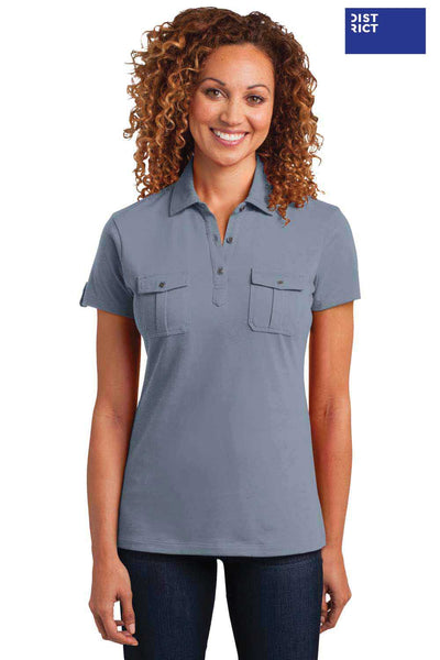 District DM433 Storm Grey Blend Double Pocket Polo Shirt Front