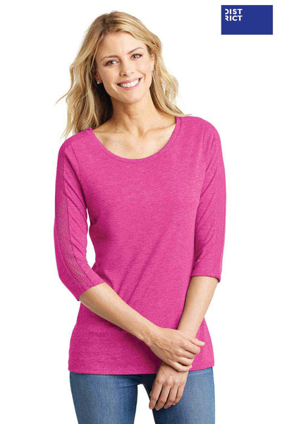 District DM444 Heather Fuchsia Pink Lace Triblend 3/4 Sleeve Crewneck T-Shirt Front