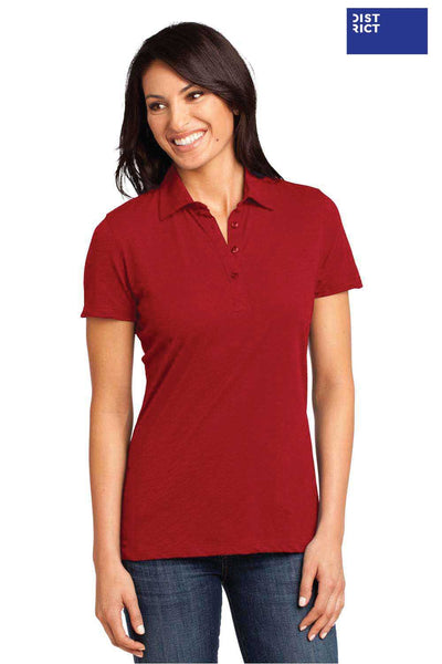 District DM450 Red Cotton Slub Short Sleeve Polo Shirt Front