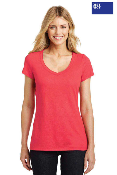 District DM456 Coral Red Shimmer Blend Short Sleeve V-Neck T-Shirt Front