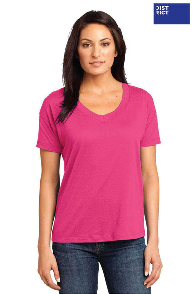 District DM480 Fuchsia Pink Relaxed Blend Short Sleeve V-Neck T-Shirt Front