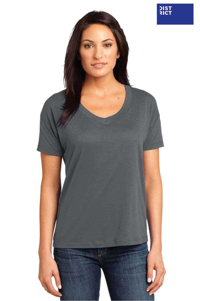 District DM480 Warm Grey Relaxed Blend Short Sleeve V-Neck T-Shirt Front