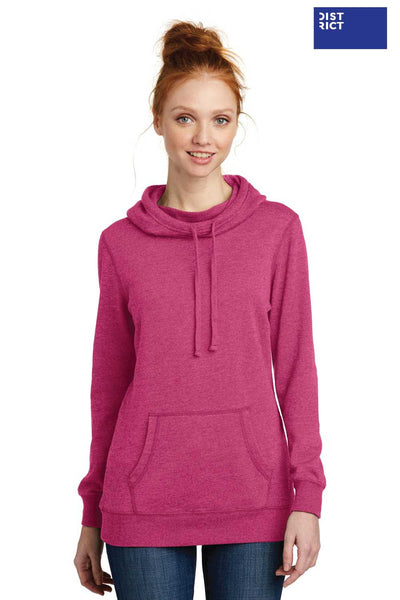 District DM493 Heather Azalea Pink Lightweight Fleece Hooded Sweatshirt Hoodie Front